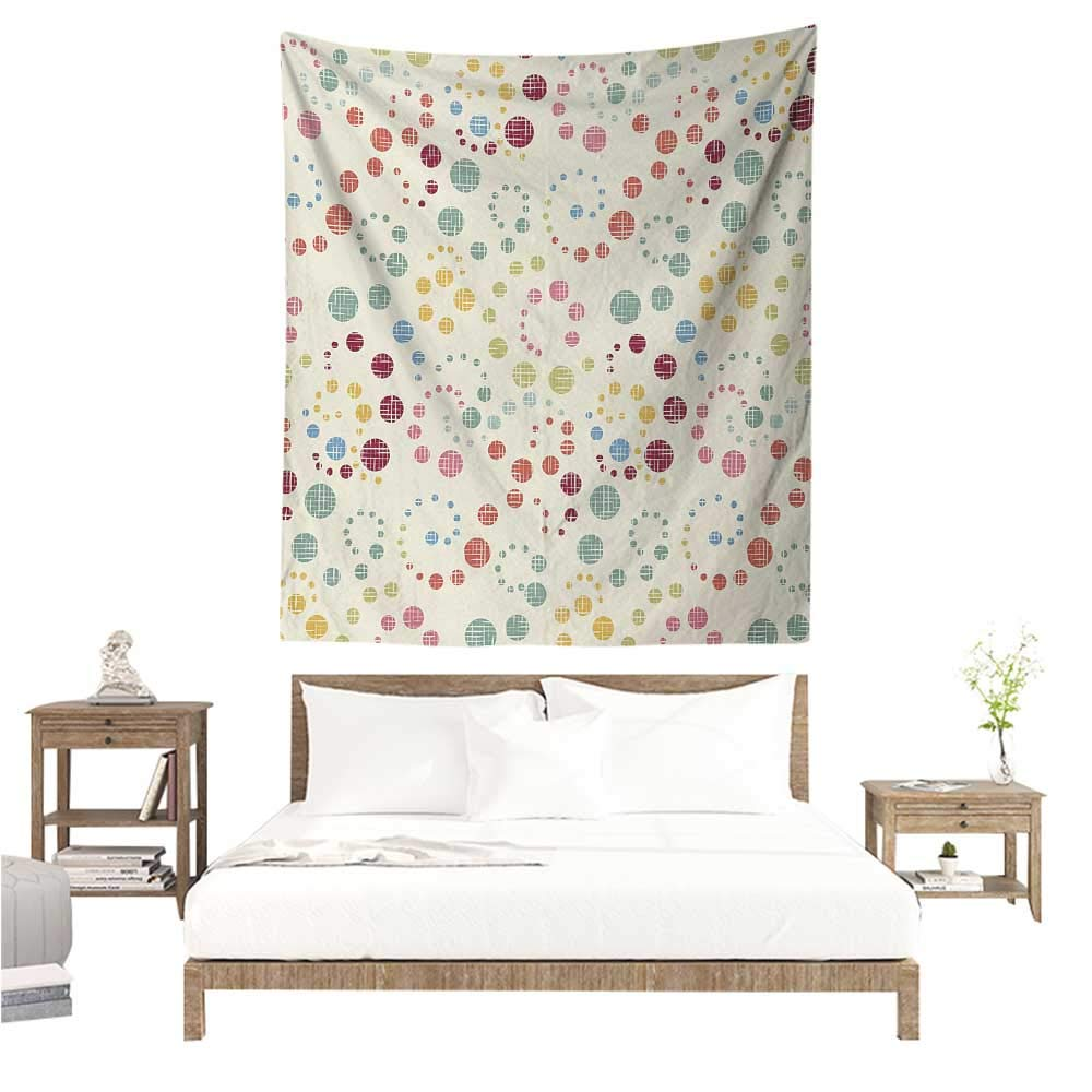 Willsd Modern Art Wall Tapestry Grunge Polka Dots Spots Backdrop Motif Retro Nostalgic Aesthetic Image Print Living Room Background Decorative Painting 60W x 91L INCH Multicolor by Willsd