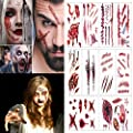 Best Cheap Deal for Halloween Temporary Tattoos Bleeding Wound Scar Zombie Vampire Tattoo Sticker for Party Cosplay Costume Look Real Flash Waterproof Temporary Tattoo from MelodySusie - Free 2 Day Shipping Available
