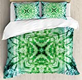 Psychedelic 4 Piece Bedding Set King Size, Abstract Square Shaped Kaleidoscope with Murky Psychedelic Expansions Pattern, Duvet Cover Set Quilt Bedspread for Childrens/Kids/Teens/Adults, Green Teal