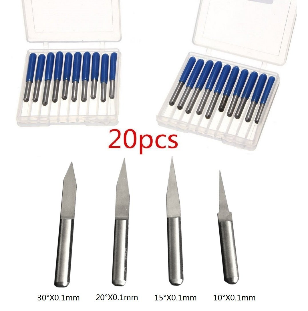 YIYATOO 20pcs 10° 15° 20° 30° 3.175mm Carbide PCB Engraving Bits CNC Router Tool 0.1mm