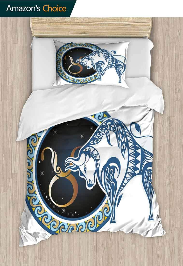 carmaxshome Taurus Custom Made Duvet Cover and Pillowcase Set, Zodiac Bull with Celestial Spiritual Universe Symbolic Character Graphic, Bedding Set with Zipper Ties 1 Duvet Cover 1 Pillow Shams