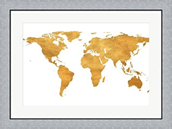 Amazon gold world map by sd graphics studio framed art print gold world map by sd graphics studio framed art print wall picture flat silver frame gumiabroncs Gallery