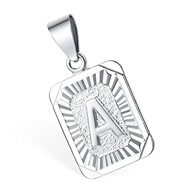 Amazon hermah square initial letter a z pendant necklace mens hermah square initial letter a z pendant necklace mens womens chain white gold plated pendant aloadofball Choice Image