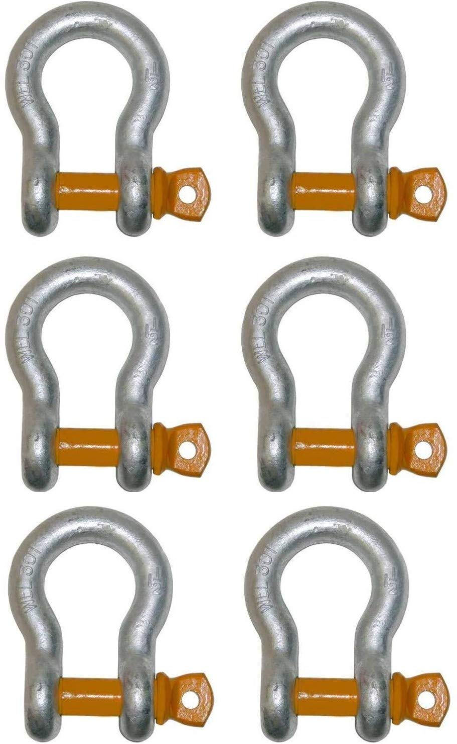 Set of 6, Products 11-AS12-x6, Strong! 1/2'' 3.3 Ton WLL Alloy Screw Pin Anchor Shackle, High Capacity for Lifting, Rigging, Chains, Straps by BA Products