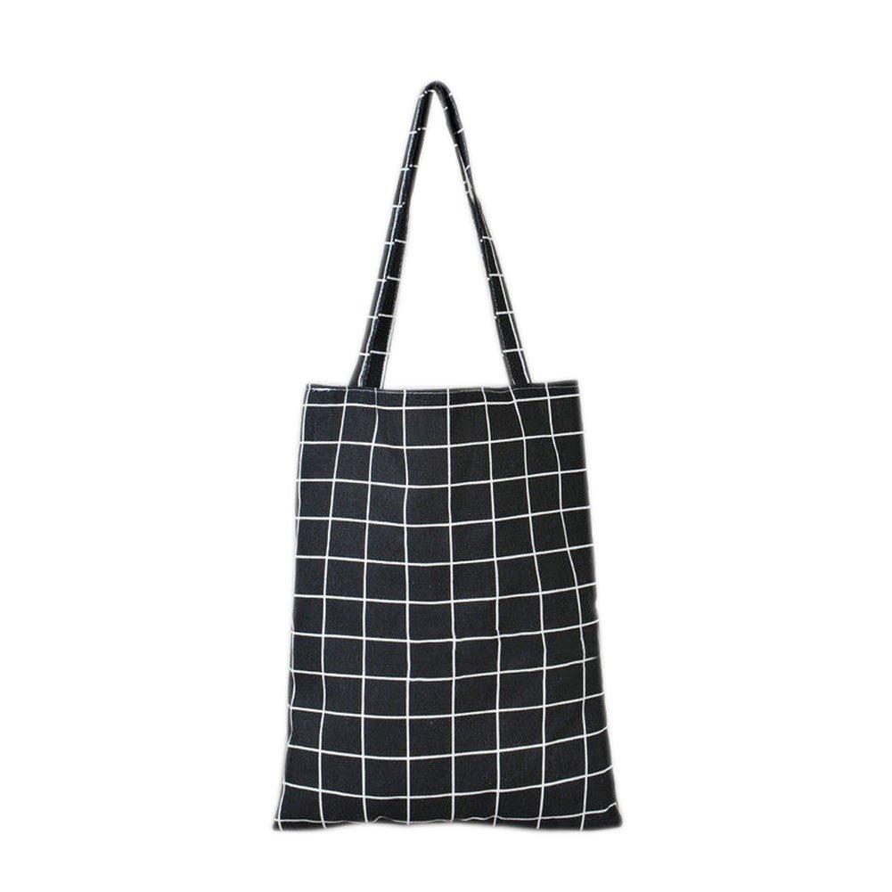 1cb8004b477b Marrellous Black Espeedy Women Cotton Linen Grid Striped Shoulder Bag Woman Handmade  Cotton Gunny Bag Purse Pouch Ladies Girls Casual Tote Bags  Amazon.in  ...