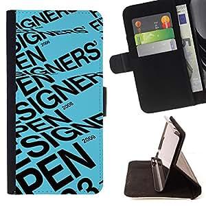 BullDog Case - FOR/Sony Xperia M2 / - / DESIGNER OPEN BLUE TEXT EVENT POSTER /- Monedero de cuero de la PU Llevar cubierta de la caja con el ID Credit Card Slots Flip funda de cuer