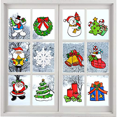 HUFUN 12 Pack Christmas Window Clings Christmas Decorations Indoor Xmas Clings Window Stickers Christmas Window Decals Snow Flake Santa Claus, Snowman Multiple Styles Reusable