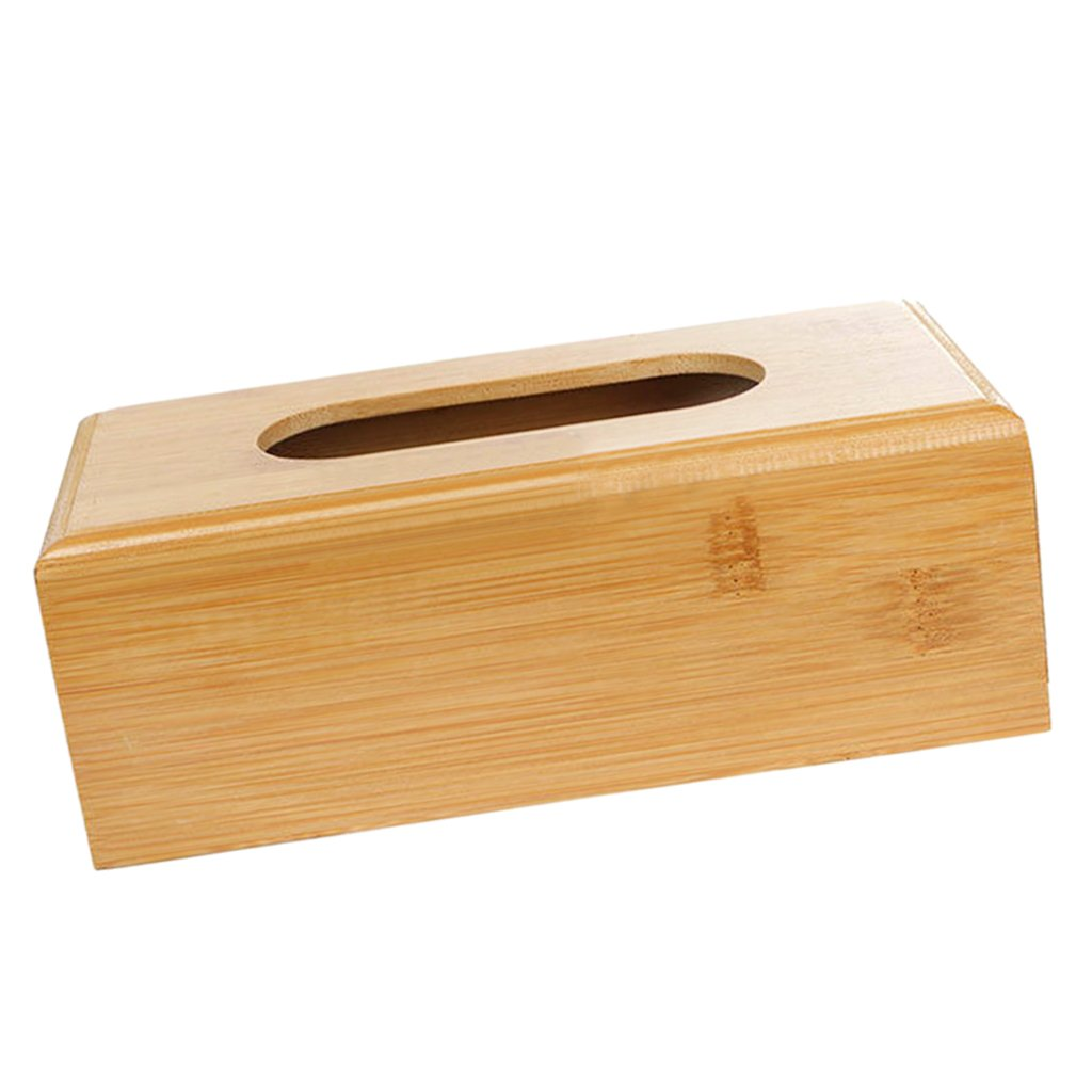 FITYLE Rectangular Wooden Tissue Paper Storage Box Home Napkin Case Cover Holder L