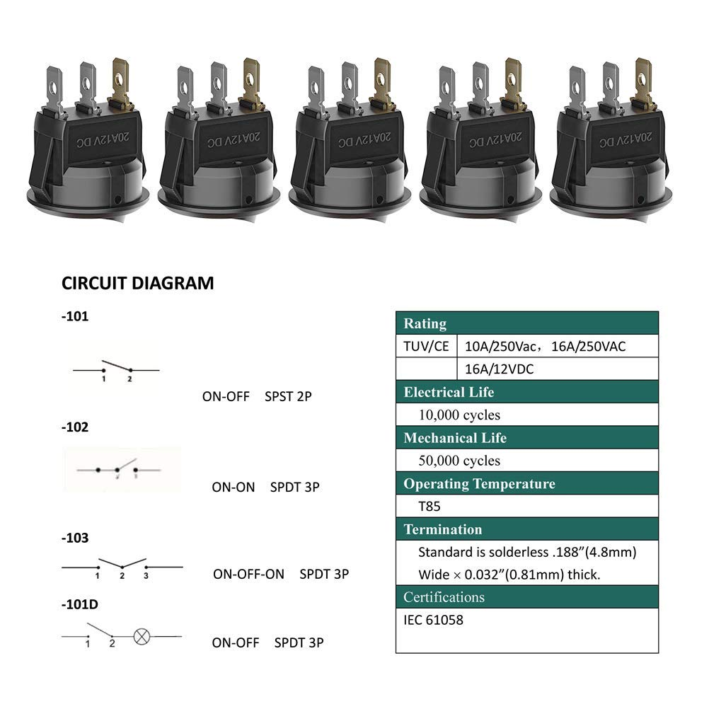 Aokin 5Pcs 2 Pin Snap-in On//Off Position Snap Boat Rocker Switch 12V//110V//250V OT8G