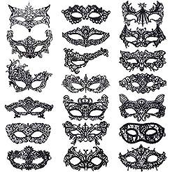 Xloey 20 Pieces Lace Mask Masquerade Ven...