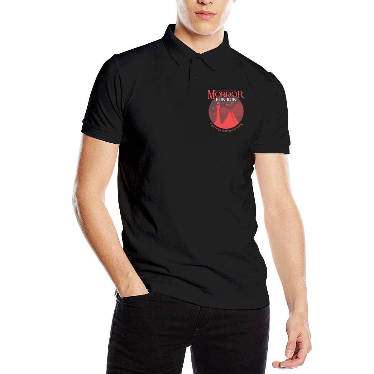 Casy Teey One Does Not Simply Walk Mens Polo Shirts Black L