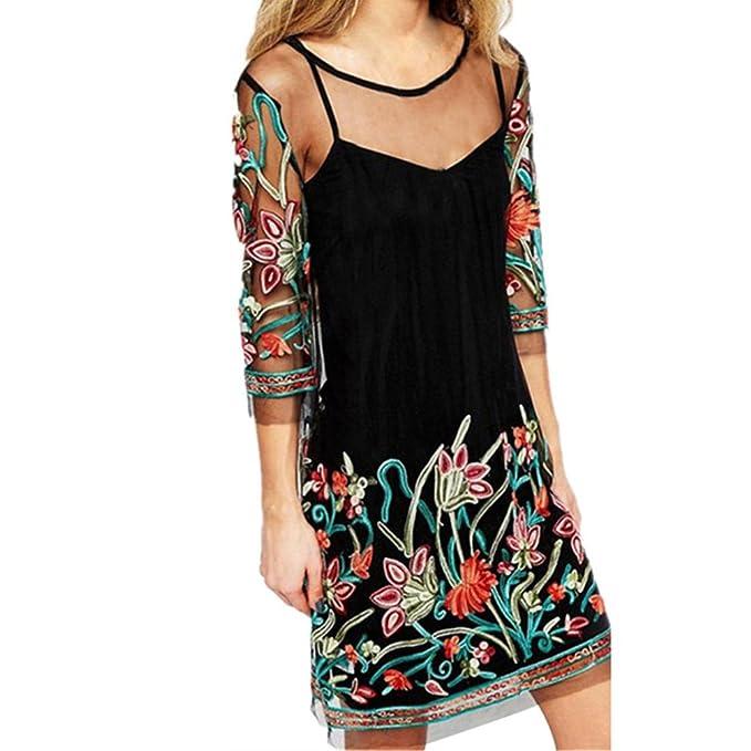 vestidos playa mujer ganchillo Sannysis vestido de fiesta floral bordado faldas mujer largas verano bikini bohemia con malla de encaje: Amazon.es: Ropa y ...