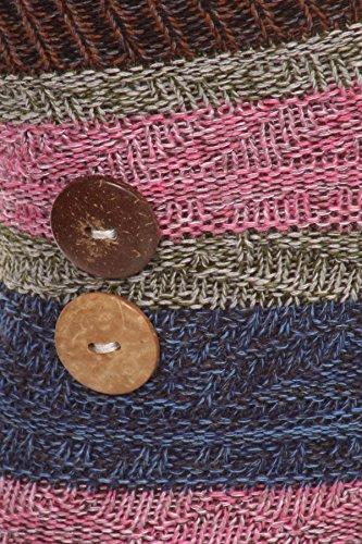 Chaussettes De Survêtement À Rayures En Coton Pour Femmes Au Dessus Du Genou Avec Détail Boutonné, Taille 9-11 Marron
