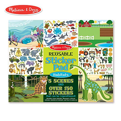 Melissa & Doug Habitats Reusable Sticker Pad (Extra Large Sticker Activity Pad, Removable Backgrounds, 150 Stickers)