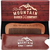 Travel Hair Comb - Wood with Fine and Medium Tooth for Head Hair, Mustache, Beard with Carrying Case for Travel & Pocket - Anti-Static and No Tangle