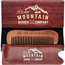 Hair Comb - Wood with Fine and Medium Tooth for Head Hair, Mustache, Beard with Carrying Case for Travel & Pocket - Anti-Static and No Tangle