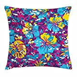 Ambesonne Hawaii Throw Pillow Cushion Cover, Abstract Colorful Foliage Pattern The Aloha State Design Tropical Tiki Elements, Decorative Square Accent Pillow Case, 28 X 28 inches, Multicolor