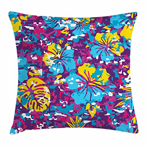 Ambesonne Hawaii Throw Pillow Cushion Cover, Abstract Colorful Foliage Pattern The Aloha State Design Tropical Tiki Elements, Decorative Square Accent Pillow Case, 28 X 28 inches, Multicolor by Ambesonne