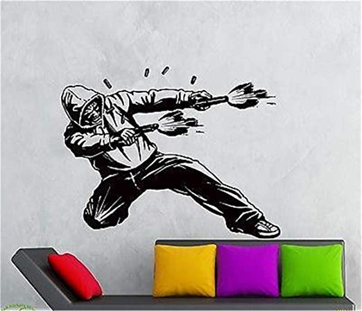 Amazon Com Fuance Vinyl Peel And Stick Mural Removable Wall Sticker Decals Gangster In Hood Shooting Guns Weapons Killer Home Kitchen