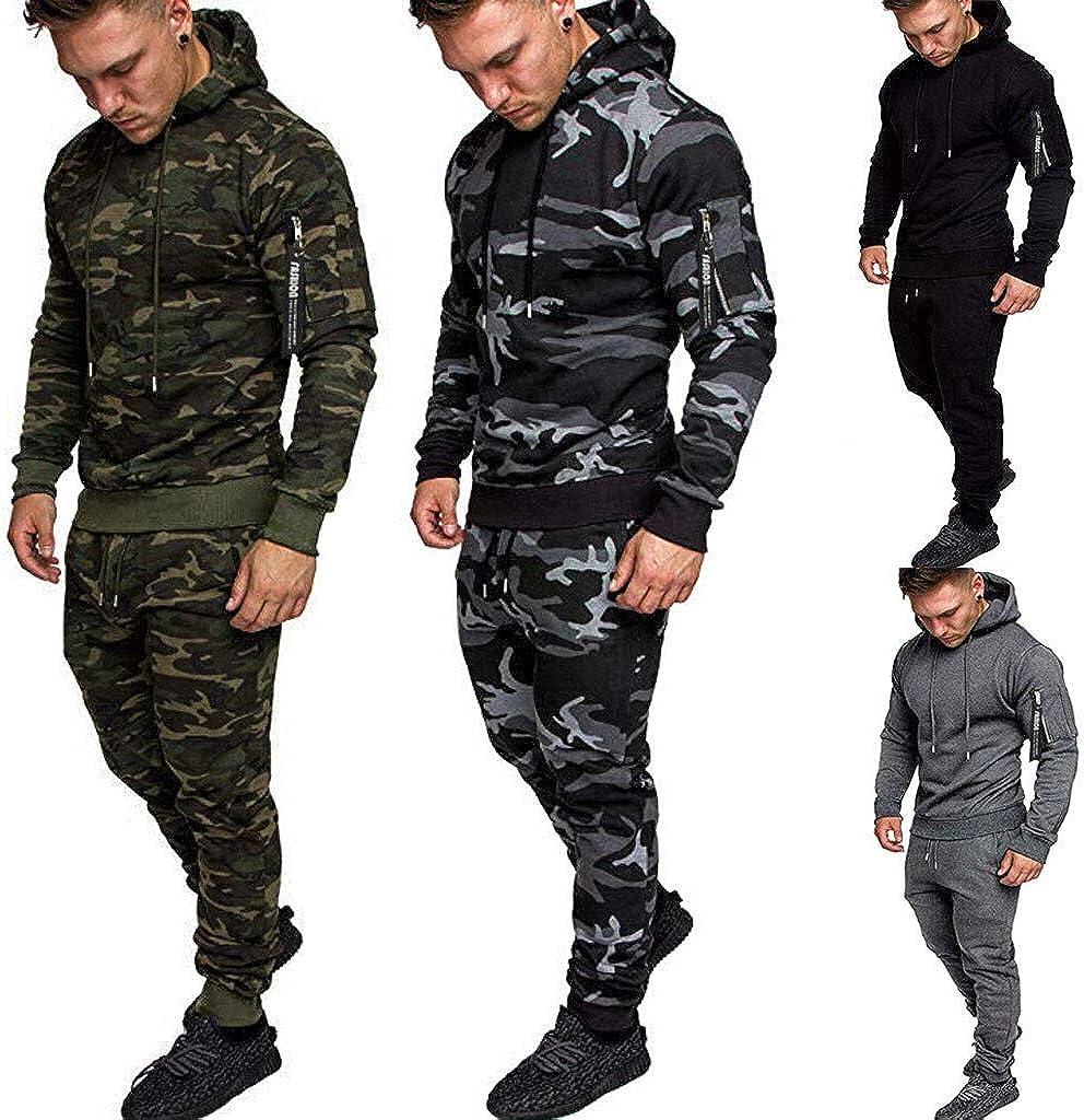 Herren Camouflage Army Jogginganzug Trainingsanzug Jogging Kost/üm Trainingshose+Kapuzenjacke Sportanzug Sweatjacke Hose Anzug Fitness Yoga Trainingshose Sporthose Sweater Pullover Sweatshirt