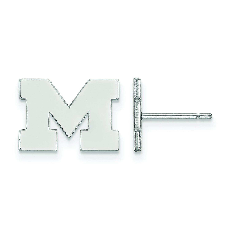 ミシガン州Extra Small (3 / 8インチ) ポストイヤリング(10 Kホワイトゴールド)   B01JAOZKEW