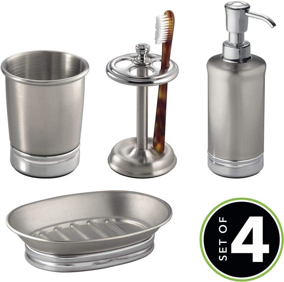 Elegante set de ba/ño con dosificador de jab/ón plateado porta cepillos de dientes y vaso para higiene bucal jabonera mDesign Juego de 4 accesorios de ba/ño en acero inoxidable