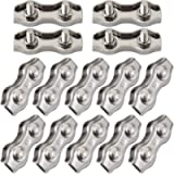 Cozihom 1/8 Inch M3 Stainless Steel Duplex 2-Post Cable Clamp, Wire Rope Clip Cable Clamp, Pack of 14