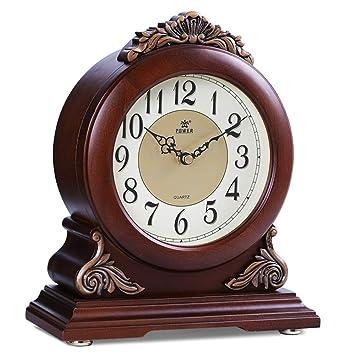 GongDi Reloj de Mesa Retro en la habitación con Estilo Mute Dormitorio Colgante Simple Bloqueo de Madera: Amazon.es: Hogar