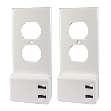 Amazon.com: Placa de pared con cargador USB, Duplex, 2,4 Amp ...
