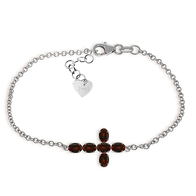 ALARRI 1.7 Carat 14K Solid White Gold Cross Bracelet Natural Garnet Size 7 Inch Length