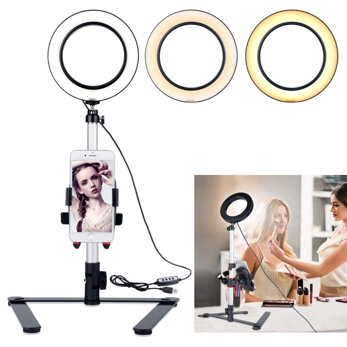 B-Land 5.7'' Ring Light with Desktop Stand for YouTube Video and Makeup, Mini LED Camera Light with Cell Phone Holder Table Top LED Lamp with 3 Light Modes & 11 Brightness Level