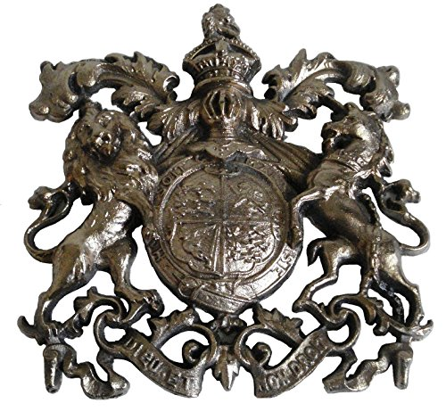 Brass Blessing Vintage Style Heavy Cast Brass Royal Crest Safe Wall Plaque Plate (Big)
