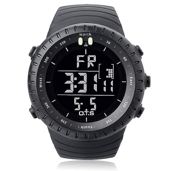Palada - Reloj de pulsera digital para hombre con movimiento de cuarzo y retroiluminación LED, con formato de 24 horas, de color negro: Amazon.es: Relojes