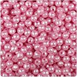 BEADTIN Light (Baby) Pink Pearl 6mm Smooth Round Craft Beads (500pc)