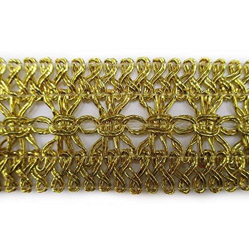 """Metallic Gold Lace Trim Braid Ribbon For Weddinng Bridal Home Decor DIY Craft Supply 1-1/2"""" Wide By 2 Yards"""