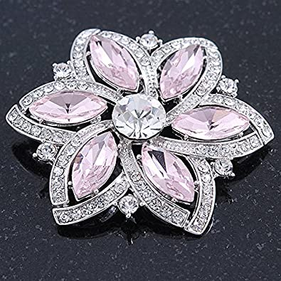 53mm Across Pink// Clear Glass Crystal Flower Brooch In Rhodium Plating