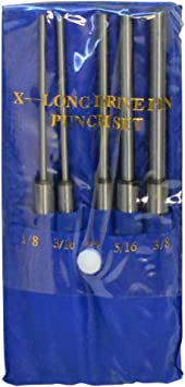 Set Of 5 Pcs Steel 8/'/' Long Drive Pin Punch Set Knurled body Punches Tool Set