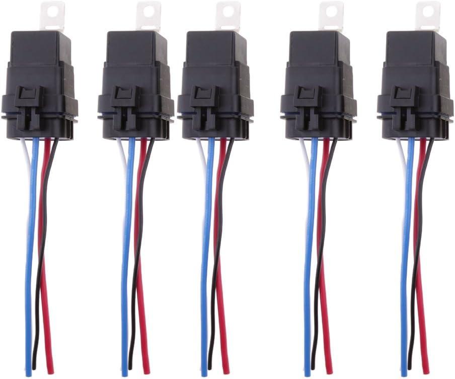 Colcolo 5 Juegos de Relés Electrónicos SPST de 5 Pines 12V 40A para Coche, Barco