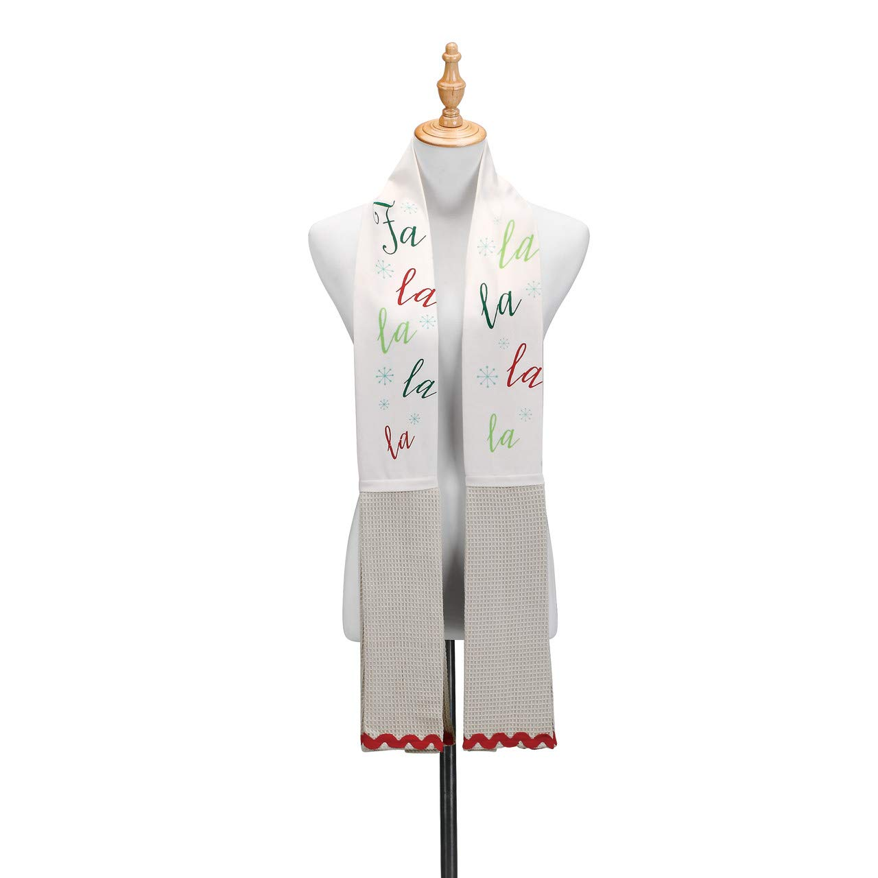 Warm Winter Wishes Cream Color 68 inch Cotton Fabric Christmas Towel Boa
