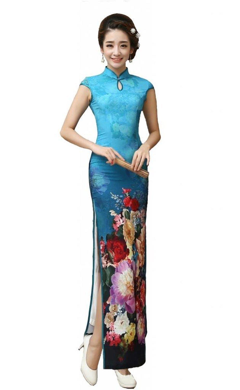 AvaCostume Women's Chinese Silk High Side Slit Long Chinese Dress Cheongsam Blue XL