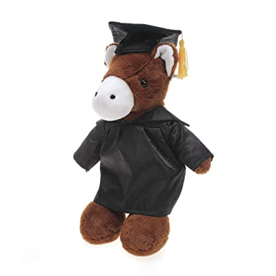 Plushland Horse Plush Stuffed Animal Toys with Box Present Gifts for Graduation Day, Personalized Text, Name or Your School Logo on Gown, Best for Any Grad School Kids (Black Cap and Gown): Toys & Games