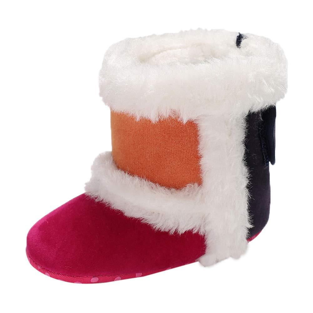 Tronet Baby Girls Winter Cashmere Splicing Boots Infant Newborn Prewalker Warm Shoes For 0-18 Months (3.5(0~6 M), Hot Pink)