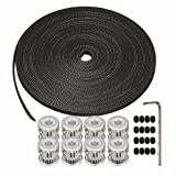 Wangdd22 8Pcs 20Teeth GT2 Pulley Bore 5mm + 10M(33') GT2 Timing Belt + 16 x Screws for 3D Printer Parts RepRap Prusa