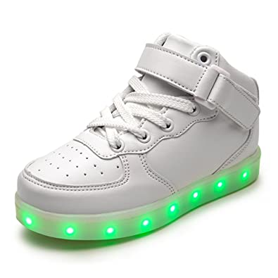DoGeek Zapatos Led Niños Niñas Negras Blanco 7 Color USB Carga LED Zapatillas Luces Luminosos Zapatillas