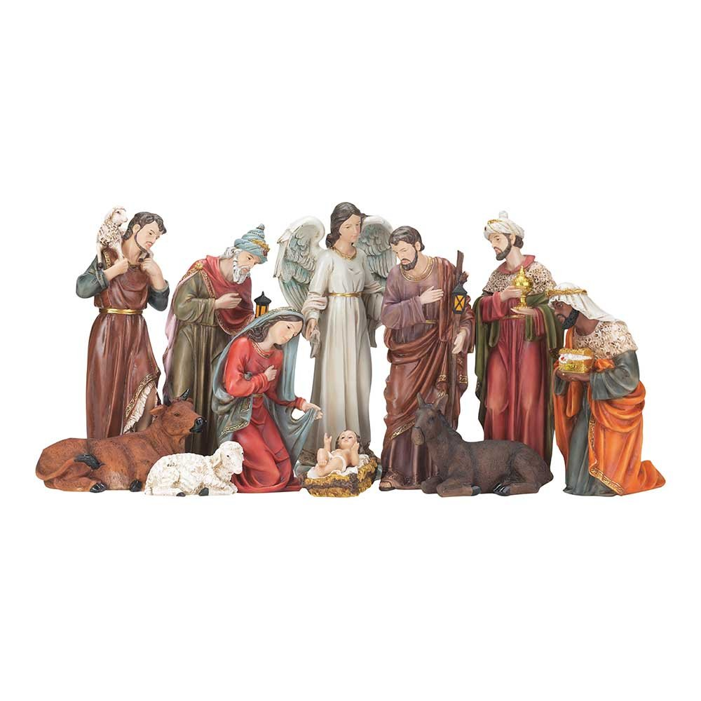 Tall Traditional Nativity Scene 10 x 16 Resin Stone Christmas Figurine, Set of 11