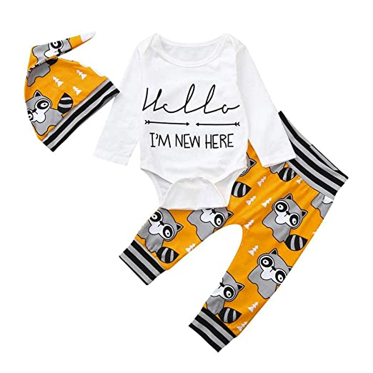 6cec0a5a1574 Amazon.com  DIGOOD Toddler Infant Baby Boys Girls Letter Romper and Cartoon  Racoon Pants with Hat