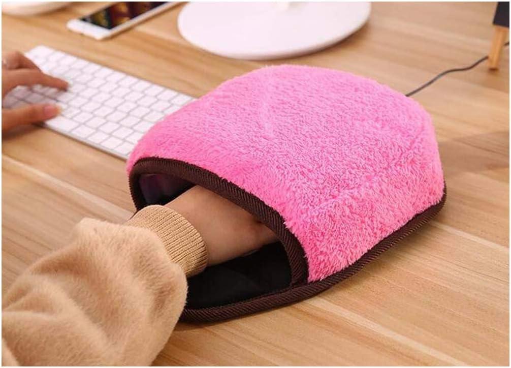 USB Heated Mouse Pad,Lumumi Winter Warm Plush Hand Warmer with Wristguard Christmas Gift Warm Mouse Mat