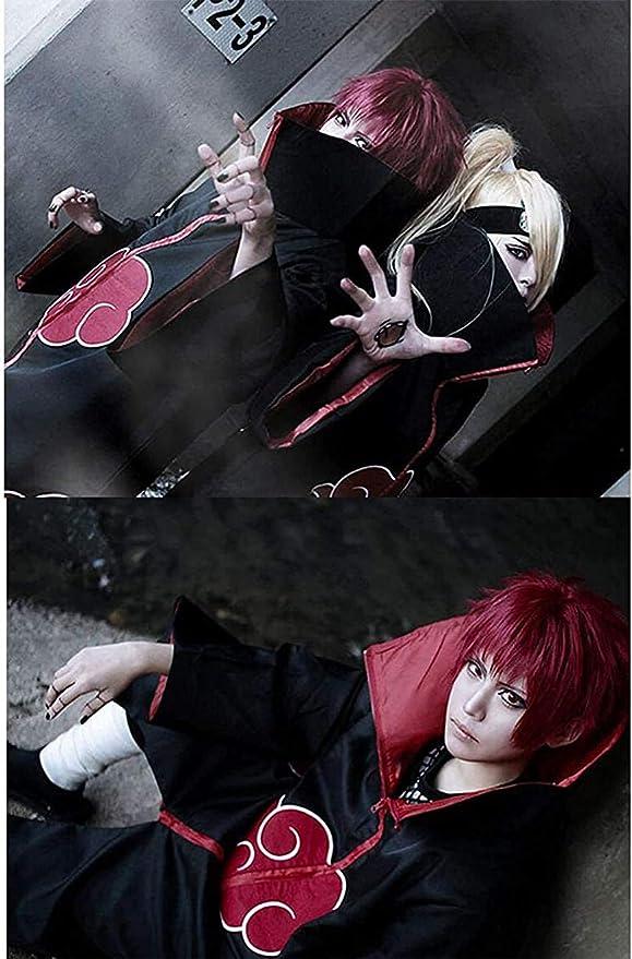 KIACIYA Anime Naruto Akatsuki//Uchiha Itachi Cosplay Halloween Weihnachten Party Kost/üm Naruto Akatsuki Umhang Mantel Akatsukikost/üm Jacke mit Stirnband und Ring f/ür Herren M/änner Kinder Erwachsene