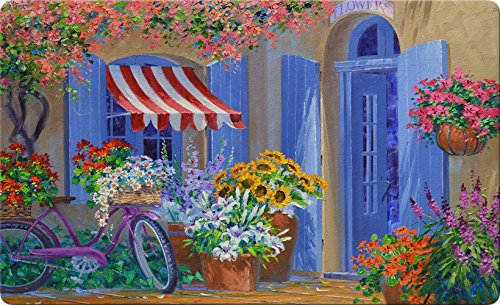 Toland Home Garden Bloomin' Bike 18 by 30 Inch Decorative Colorful Floral Floor Mat Seasonal Flower Doormat