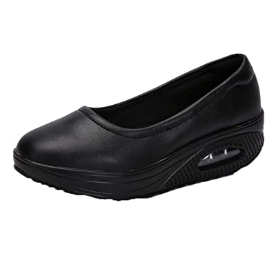 Zomine Women's Nurse Shoes Thick Bottom Leather Air Cushioned Mom Sneakers Black 8.5 M US: Shoes